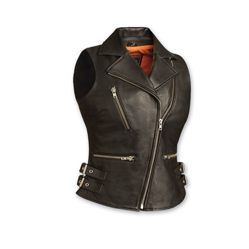 Women Leather Biker Vests First Classics Shipping