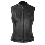 Women's Leather Motorcycle Vests: First Classics Envy