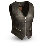 Women's Leather Motorcycle Vest: First Montana