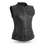 Women's Leather Motorcycle Vests: First Club Style