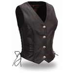 Women's Black Leather Motorcycle Vests