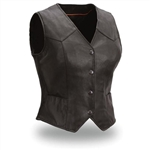 Womens Leather Motorcycle Vest -