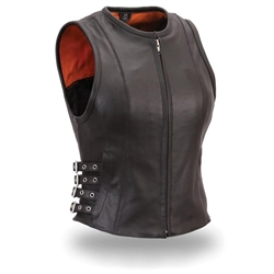 Women's Leather Motorcycle Vests: Biker Zip Style