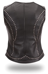 Womens Leather Motorcycle Vests: Riveted Zip-Up