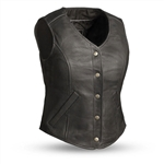 Ladies First Classic Leather Motorcycle Vest