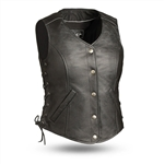 Women's Gun Pocket Leather Motorcycle Vest