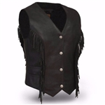 Women's Black Leather Fringe Motorcycle Vest