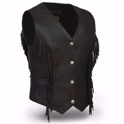 Women's Leather Fringe Motorcycle Vest