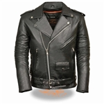 Traditional Men's Leather Motorcycle Jacket - Side Lace