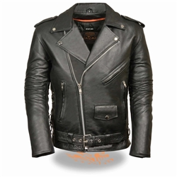 Old School Men's Leather Motorcycle Jacket - Side Lace