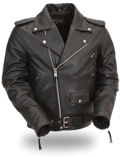 Mens Classic M//C Style Leather Side Lace Motorcycle Jacket W// Half Belt Side Lace Medium