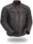 Mens Vented & Reflective Leather Motorcycle Jacket