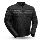 First Classics: Men's Leather Motorcycle Jacket with Reflective Skulls