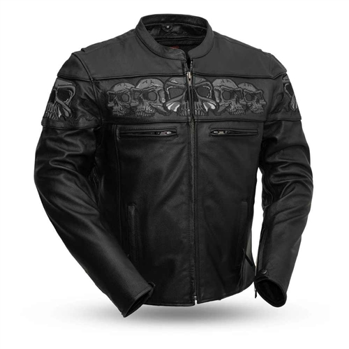Leather Motorcycle Riding Jackets With Reflective Skulls
