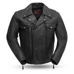 Men's Premium Tall Leather Motorcycle Jacket, Utility Pocket