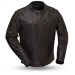 Lightweight Distressed Leather Motorcycle Jacket
