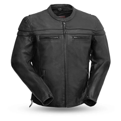 Sporty Men's Leather Motorcycle Jacket