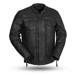 Lightweight Premium Leather Scooter Jacket, Utility Pocket