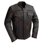 Lightweight Copper Leather Scooter Jacket, Utility Pocket