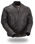 Soft Black Leather Scooter Men's Motorcycle Jacket