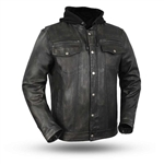 Mens Leather Denim Style Motorcycle Jacket