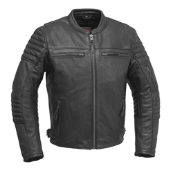 Vintage Cowhide Leather Scooter Jacket, Commuter