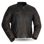 Vintage Cowhide Brown Leather Scooter Jacket