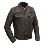 Collared Distressed Leather Motorcycle Jacket