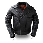 Leather Utility Gun Pocket Motorcycle Jacket