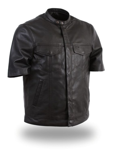 Mens Lightweight Short Sleeve Motorcycle Leather Shirts