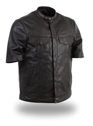 Mens Lightweight Short Sleeve Leather Shirt: FIM410SDL