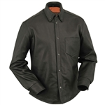 Mens Black Biker Leather Shirt- Gun Concealment Holster Pocket