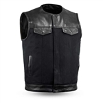 Leather & Raw Canvas Motorcycle Vest 49/51 Combo
