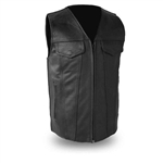 Updated Leather Motorcycle Vest by First