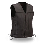 Mens Motorcycle Leather Vests: Single Panel Black