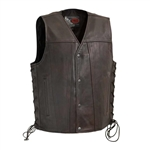 First Classics Copper Leather V-Neck Motorcycle Vest