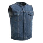 Blue Collarless Denim Motorcycle Club Vest, Unlined