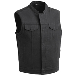 Black Raw Denim Motorcycle Club Vest