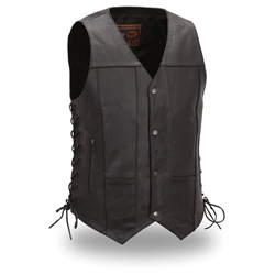 10 Pocket Leather Motorcycle Club Vests: Gun Pocket