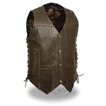 Mens 10 Pocket Brown Leather Motorcycle Vest