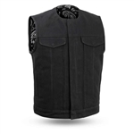 Black Raw Canvas Motorcycle Club Vest, Fair Fax