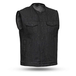 Collarless Black Raw Denim Motorcycle Vest