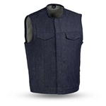 Collarless Blue Raw Denim Motorcycle Vest