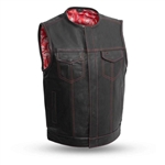 red paisley bandanna premium leather club vest