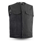 Black Raw Canvas Motorcycle Club Vest