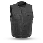 Collarless Platinum Leather Motorcycle Club Vest