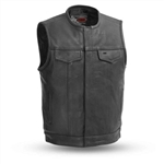 Premium Collarless Men's Leather Motorcycle Club Vest