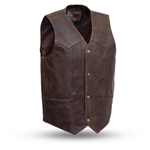 Mens 10 Pocket Leather Motorcycle Vests: Gun Pocket