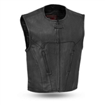 Matte Leather Motorcycle Vest for Men