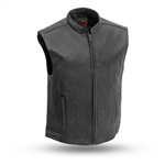 Cowhide Leather Motorcycle Club Vest: FIM656CSL